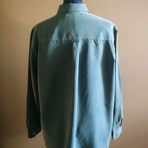 French Laundry Tops - Turquoise (Suede Feel) Button-Down Top